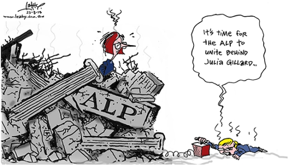 840617-kevin-rudd-calls-for-time-to-unite-behind-julia-gillard-amid-the-alp-rubble-leahy-cartoon-saturday-march-23-2013