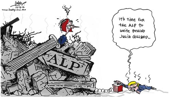 840617-kevin-rudd-calls-for-time-to-unite-behind-julia-gillard-amid-the-alp-rubble-leahy-cartoon-saturday-march-23-2013