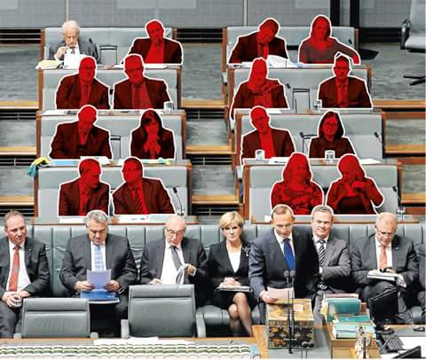 You know all those MPs you see behind Tony Abbott in Parliament? All but one would lose their seat if an election were held today.