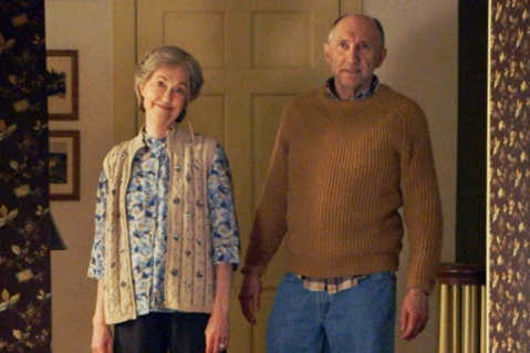 "FILM STILL - FOR SUNDAY - (L to R) Tyler (ED OXENBOULD) is terrified by Nana (DEANNA DUNAGAN) and Pop Pop (PETER MCROBBIE) in Universal Pictures' ""The Visit"". Writer/Director/ Producer M. Night Shyamalan returns to his roots with the terrifying story of a brother and sister who are sent to their grandparents' remote Pennsylvania farm for a weeklong trip. Once the children discover that the elderly couple is involved in something deeply disturbing, they see their chances of getting back home are growing smaller every day."